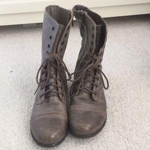 Steve Madden grey Troopa laced leather combat boot